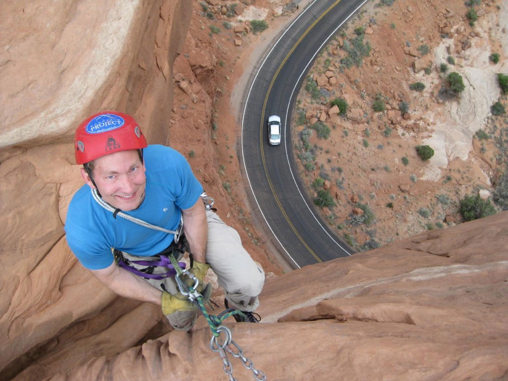 Perrin rappelling from the top.
