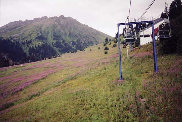 Going up Chimbulak ski resort in the summer.