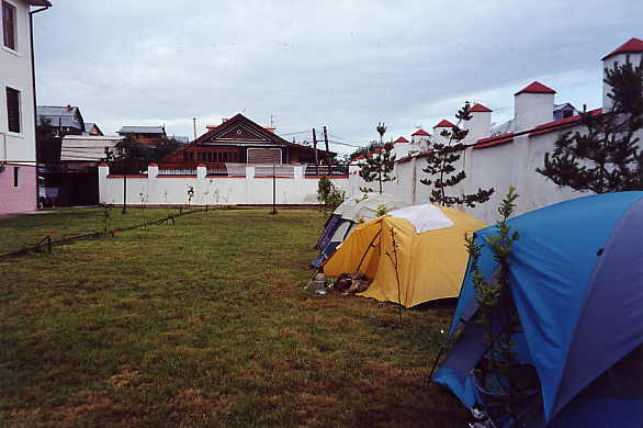 Camping in Chris's backyard.