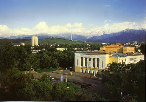 Almaty. I don't remember what that yellow building is. The mountains in the background rise to 16,000 feet.