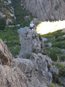 """Looking back across the """"Leap of Faith"""" to Christian belaying from pitch 1 tower. Click for larger version."""