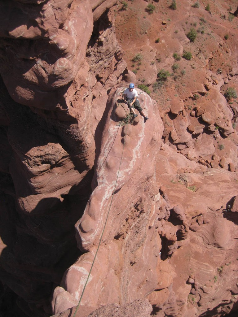Dennis's pic from the top, looking down on me at the final belay.