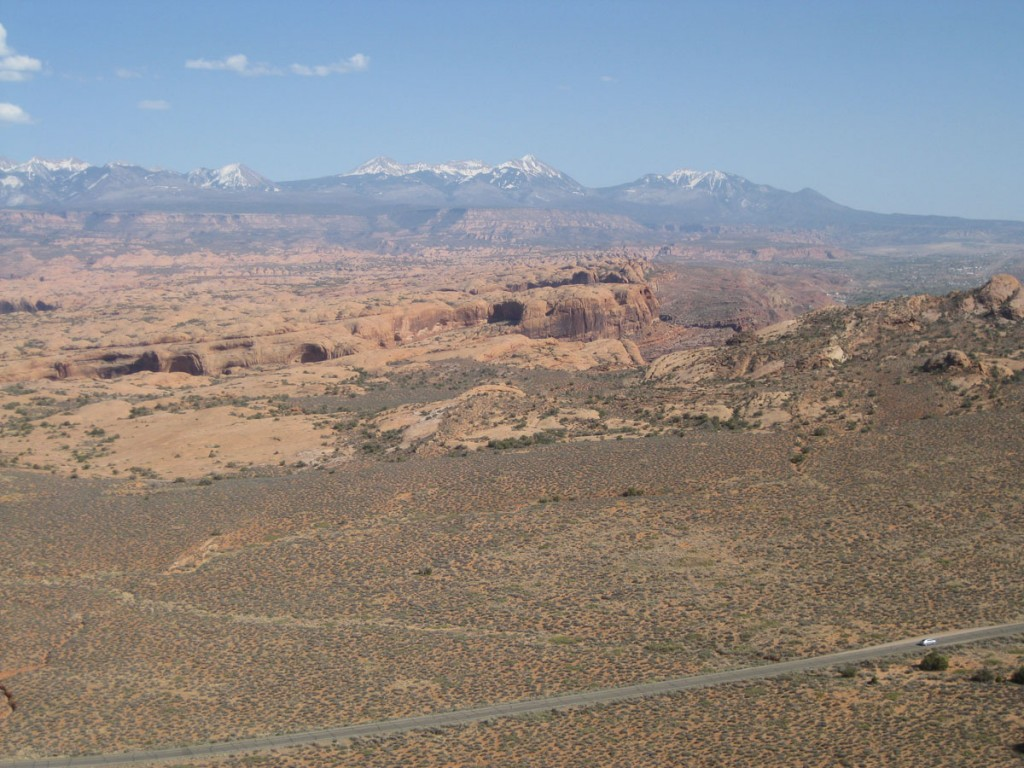 Looking over Arches National Park, with the La Sal Mountains in the distance.