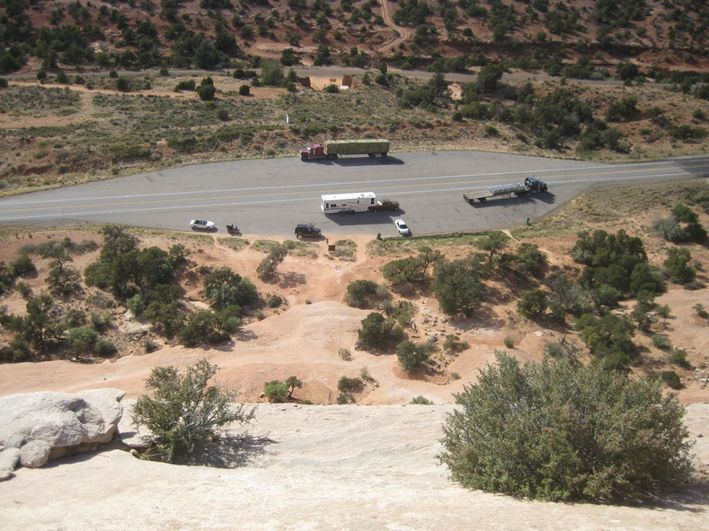 Looking down at the road and parking lot from the top.