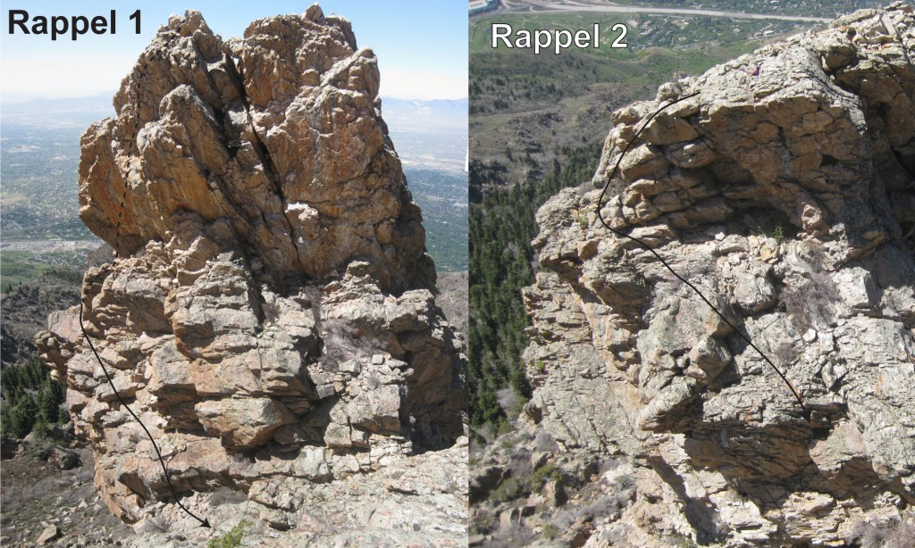 The two rappels, with the downclimbs marked.