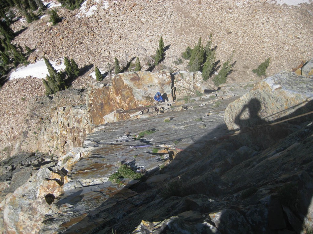 Looking down partway up pitch 3.