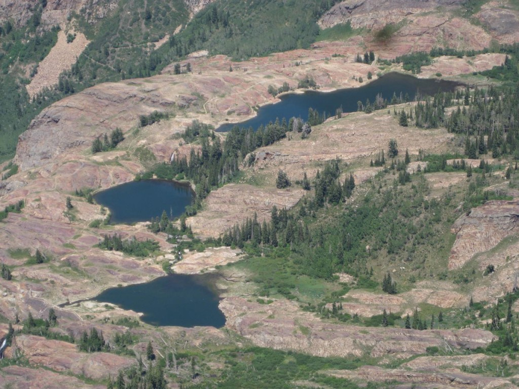 Looking down at Lake Blanche and its neighbor lakes.