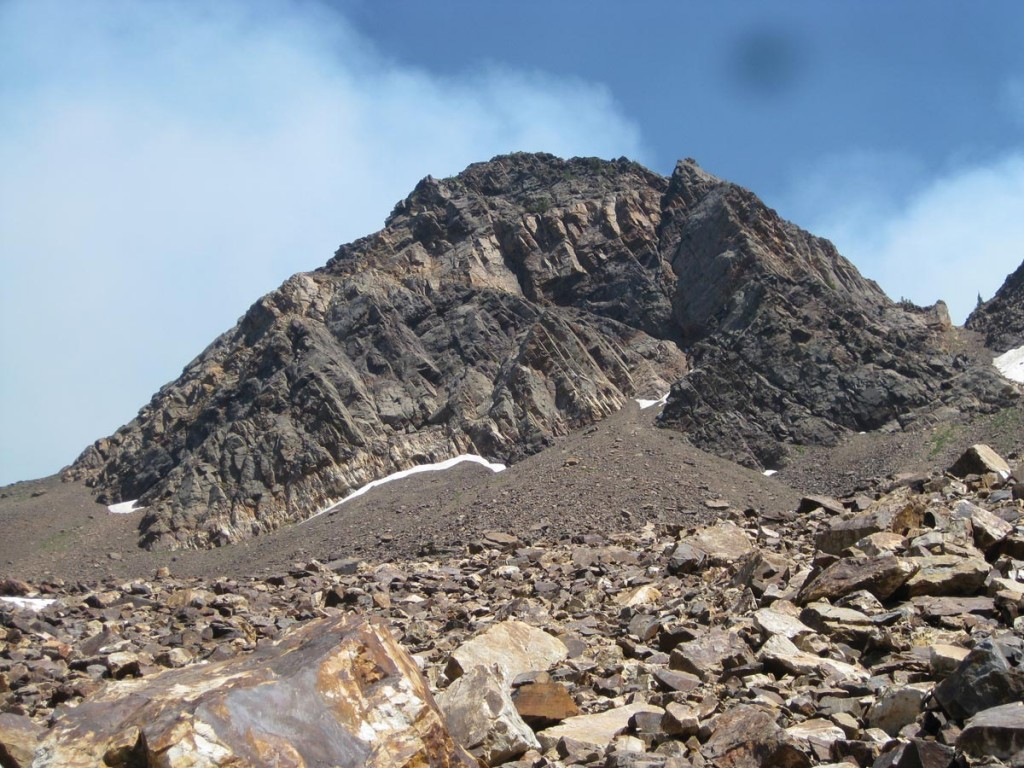 Looking up at Dromedary Peak after coming down from it.