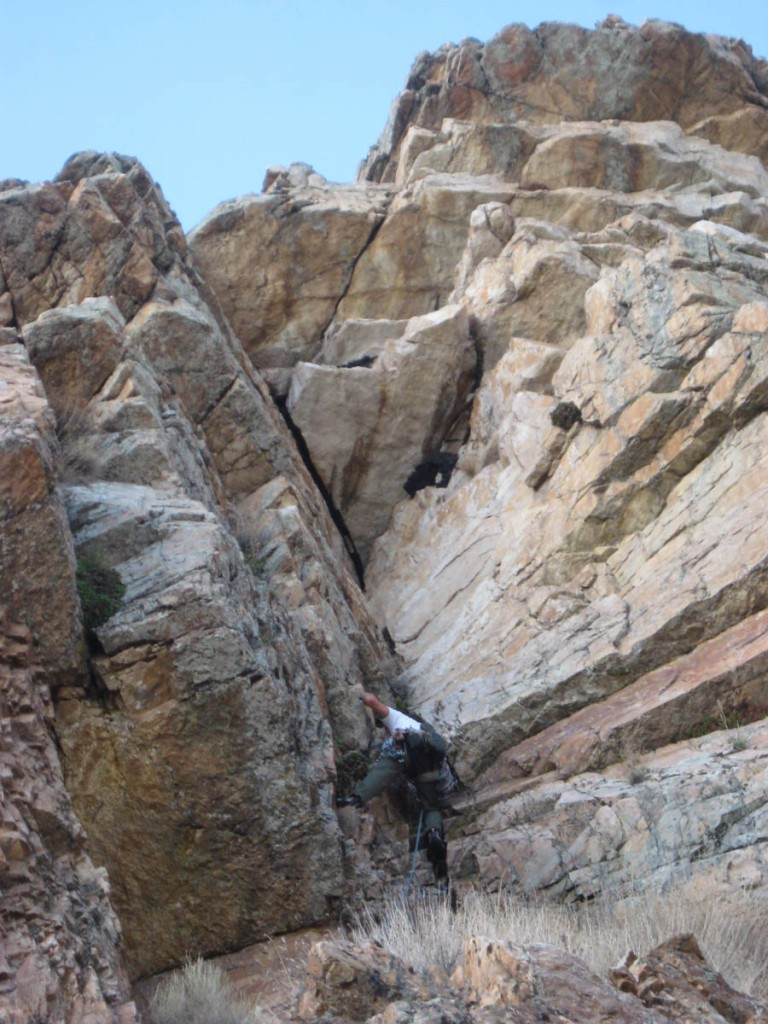 Me starting up the dihedral on pitch 5. It's the hardest and best pitch on the route.