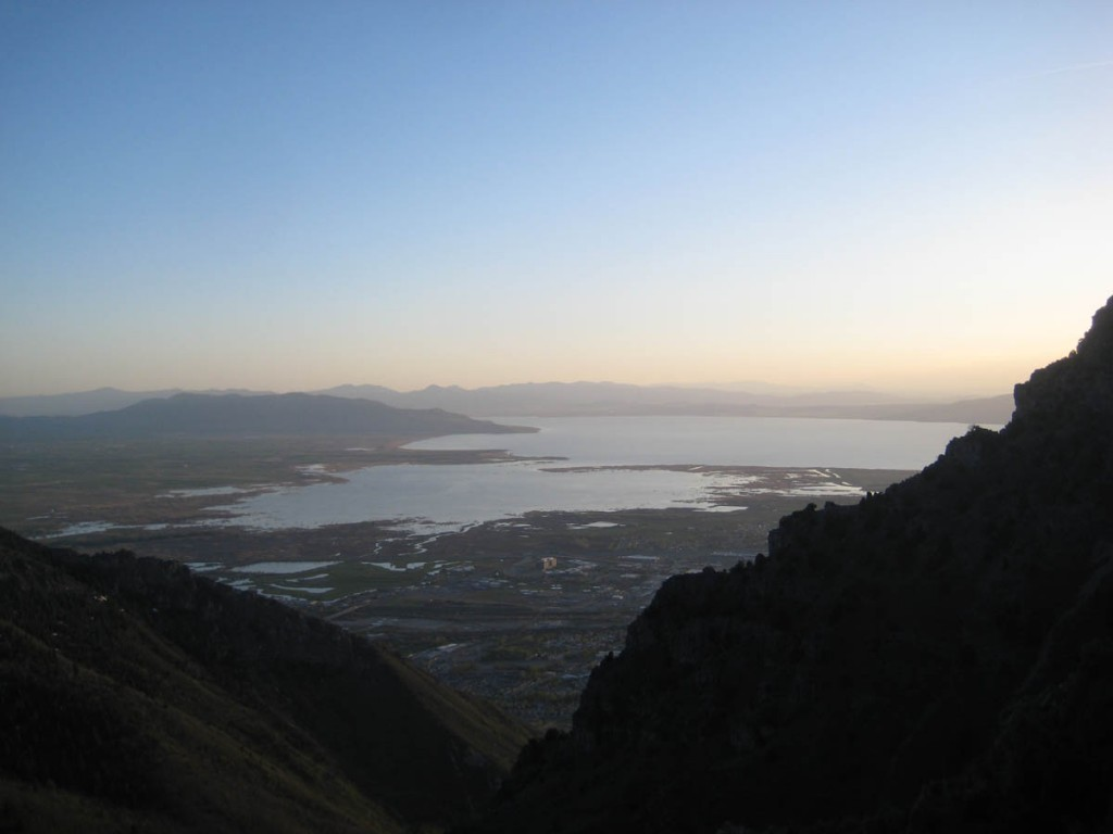 View from the top, looking out toward Utah Lake.